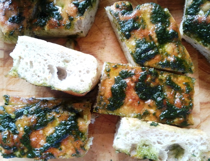 Basil and olive oil focaccia